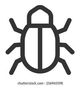 Software bug or program bug line art vector icon for apps and websites