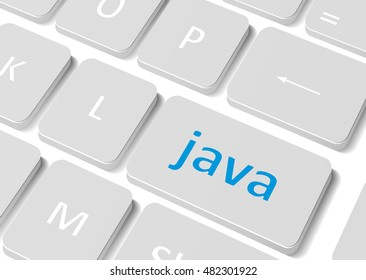 """Software concept. Button """"Java"""" on computer keyboard. Graphic illustration for your design"""