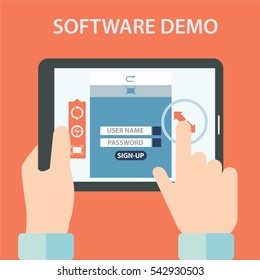 Software demo testing vector illustration flat design