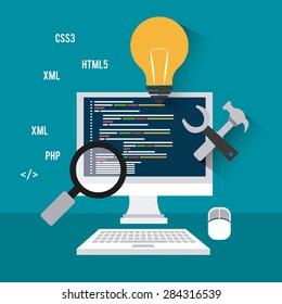 Software design over blue background, vector illustration.