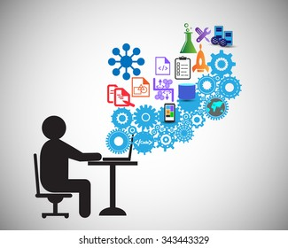 Software Developer or freelancer is Coding, This also represents a business analyst gathering requirements, tester testing code, engineer providing application support, vector illustration, icon set