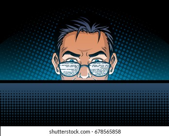 Software developer at work comic book pop art retro style vector illustration. Software engineer.