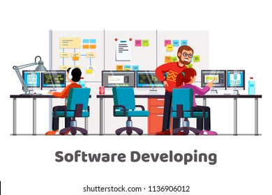 Software developing company team work together coding. Programmers writing code. Software developer office workplace desks. Team lead engineer teaching junior programmer. Flat vector illustration