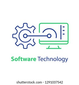 Software development, automation technology, system security upgrade, data processing, machine learning, artificial intelligence, tech support and maintenance, line icon, vector linear illustration