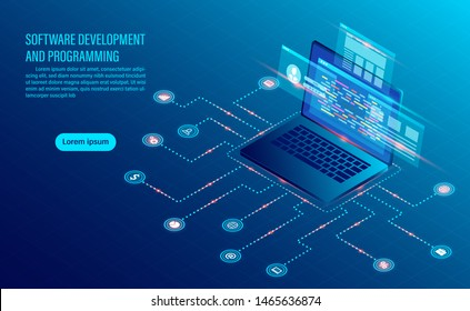 software development coding and business analysis. programming of concept. data processing. Computer code with window interface. flat isometric illustration