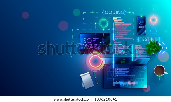 Software Development Coding Process Concept Programming Stock Vector