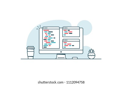 Software development and coding technologies. Computer with source code. Vector illustration in line art style