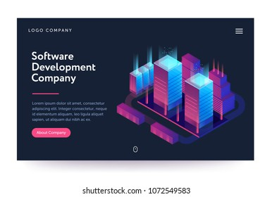 Software development company illustration. Web banner with neon light and modern buildings. Isometric gradient style. Home page concept. UI design mockup