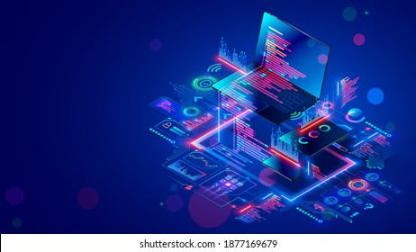 Software development for different devices. Process of optimization, debugging program or code for laptop, phone, tablet. Creation adaptive application on programming languages. computer technology.