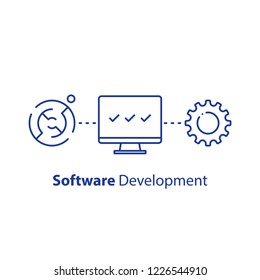 Software development, encryption technology, system security upgrade, data processing, machine learning, artificial intelligence, tech support and maintenance, line icon, vector linear illustration