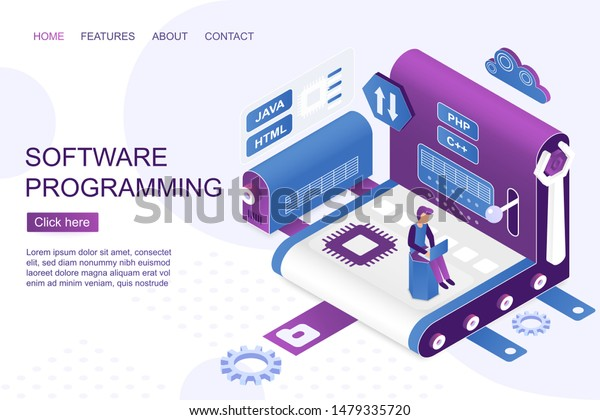 Software Development Isometric Landing Page Vector Stock Vector Royalty Free 1479335720