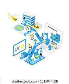 Software development levels. Technological conveyor. Programming and testing robots laptop. Isometric infographic. Blue color concept.