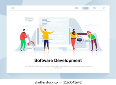 Software development modern flat design concept. Developer and people concept. Landing page template. Conceptual flat vector illustration for web page, website and mobile website.