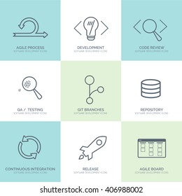 Software Development outline web icon set for agile and GIT IT teams.