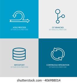 Software Development outline web icon set for agile and GIT IT teams. Set 2