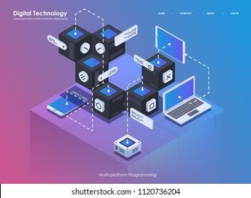 Software development and programming. Coding creative program or system process. Flat isometric illustration.