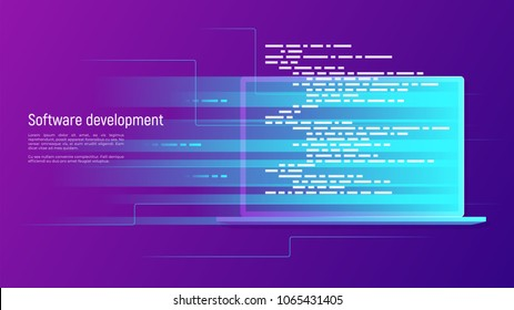 Software development, programming, coding vector concept. Global swatches.