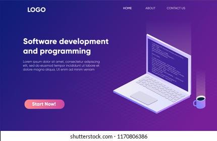 Software development and programming isometric banner illustration. program code on laptop screen, big data processing, computing isometric
