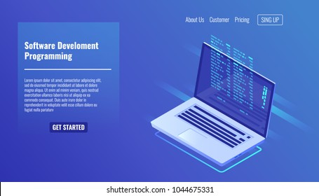 Software development and programming, program code on laptop screen, big data processing, computing isometric