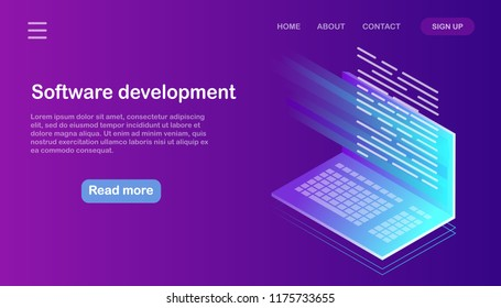 Software development and programming. Program code on pc monitor screen for developer. Isometric 3d computer in neon gradient color. Big data. Seo business technology. Vector design for website