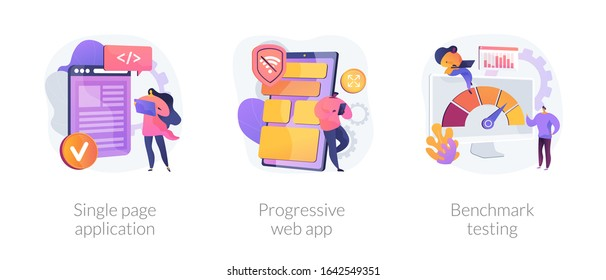 Software development, programming, technology and innovation. Single page application, progressive web app, benchmark testing metaphors. Vector isolated concept metaphor illustrations.