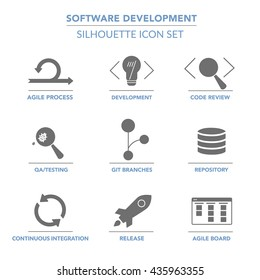 Software Development  solid (silhouette) web icon set for agile and GIT IT teams