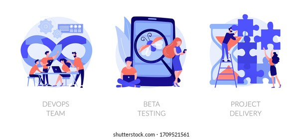 Software development. Technology analysis. Programming teamwork, quality assurance. DevOps team, beta testing, project delivery metaphors. Vector isolated concept metaphor illustrations