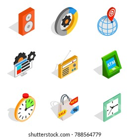 Software for the device icons set. Isometric set of 9 software for the device vector icons for web isolated on white background