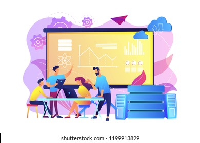 Software Engineer, Statistician, Visualizer and Analyst working on a project. Big data conference, big data presentation, data science concept. Bright vibrant violet vector isolated illustration
