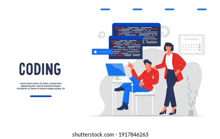 Software engineering, coding and test concept of web banner with cartoon people, flat vector illustration. Website interface for coding courses or services.  Application or website code development.