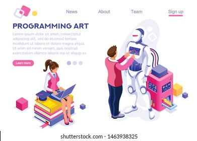 Software Equipment, Hardware Set. Engineers, Male Intelligence. Cartoon Making Elements. Programming Art. Diploma, University Collection, Graduation. Cartoon Flat Vector Illustration Isometric Banner.