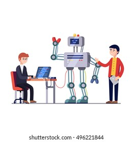 Software and hardware engineers are making and programming huge robot. Robotics hardware and software engineering. Development company. Flat style vector illustration isolated on white background.
