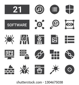 software icon set. Collection of 21 filled software icons included Cd, Magic tool, Browser, Bug, Firewall, Menu, Disc, Database, Html, Jpeg, Focus, Search mail, Vpn, Itunes