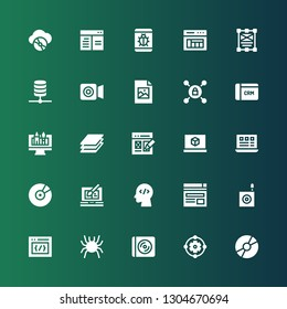 software icon set. Collection of 25 filled software icons included Disc, Design, Cd, Bug, Css, Browser, Coding, Web design, Layout, d printing software, Layers, CRM, Vpn, Jpeg