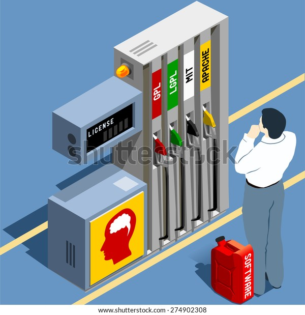 Software Licenses GPL LGPL Flat 3d Isometric Concept. Wordplay Propane Fuel LPG Become of License. Open Source Code does not Means Gratis. Vector JPEG JPG EPS 10 Image Drawing AI Object Picture Art