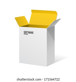 Software Package Box Opened White Inside Yellow