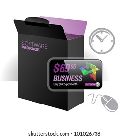 Software Package Carton Blank Box Opened Black
