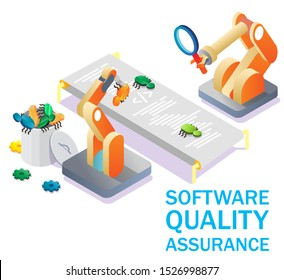 Software quality assurance, vector isometric illustration. SQA, automated code testing, debugging concept for web banner, website page etc.