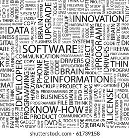 SOFTWARE. Seamless vector background. Wordcloud illustration. Illustration with different association terms.