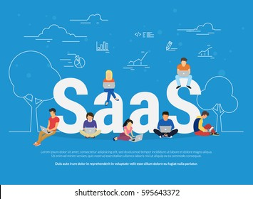 Software as service concept illustration of young men and women using devices such as laptop, smartphone, tablets for cloud software. Flat design of people subscribed to saas sitting on the letters