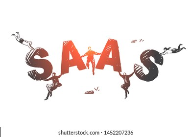 Software as a service SAAS concept sketch. Business people flying and holding letters of word SAAS in hands. Hand drawn isolated vector illustration