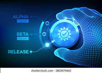 Software testing engineering concept. Alpha Beta Release testing. Wireframe hand turning a test process knob and selecting Release product mode. Software or app development phases. Vector illustration