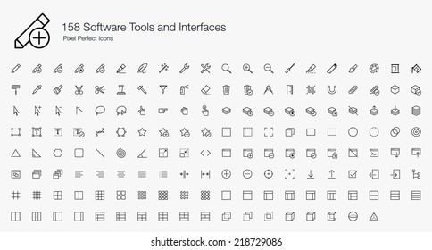 Software Tools and Interfaces Pixel Perfect Icons (line style)