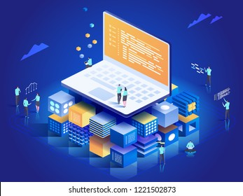 Software, web development, programming concept. People interacting with laptop,  charts and analyzing statistics. Technology process of Software development. Vector isometric illustration