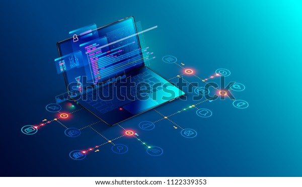 Software, web development, programming concept. Abstract Programming language and program code on screen laptop. Laptop and icons company network . Technology process of Software development