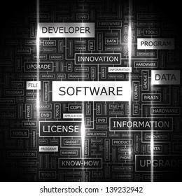 SOFTWARE. Word cloud concept illustration.