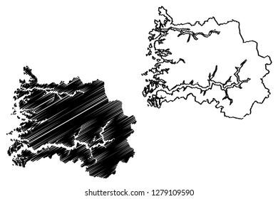 Sogn og Fjordane (Administrative divisions of Norway, Kingdom of Norway) map vector illustration, scribble sketch Sogn og Fjordane fylke map