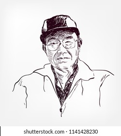 Soichiro Honda vector sketch illustration portrait face