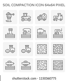 Soil compaction and equipment icon set, 64x64 perfect pixel and editable stroke.