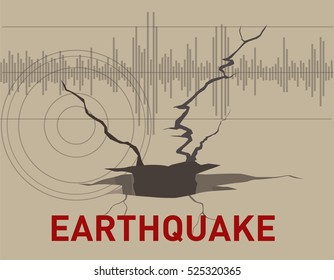 The soil cracks effect of earthquakes, and the seismograph chart illustrator